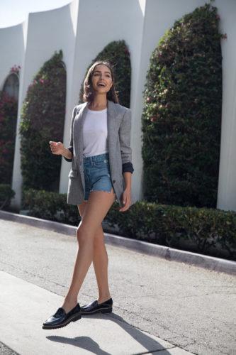 Olivia Culpo Jean Shorts Blazer Street Style