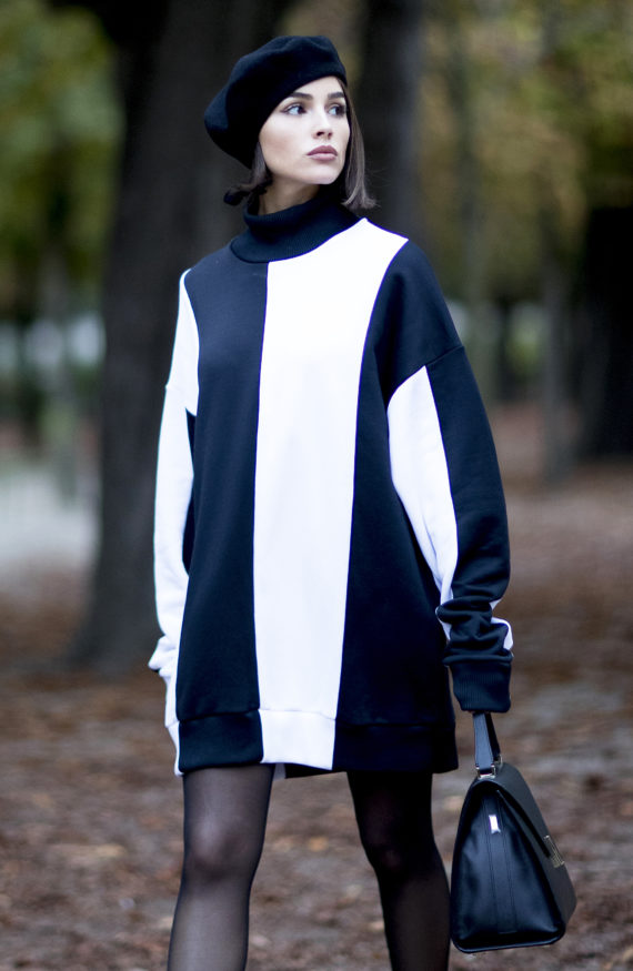 Olivia Culpo Sweatshirt Dress Paris Fashion Week