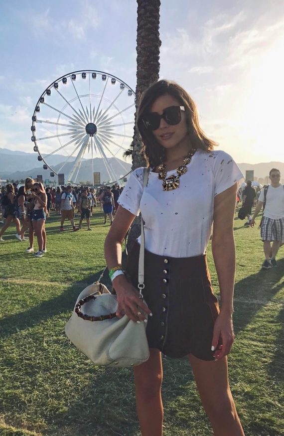 Olivia Culpo Festival Style Suede Skirt