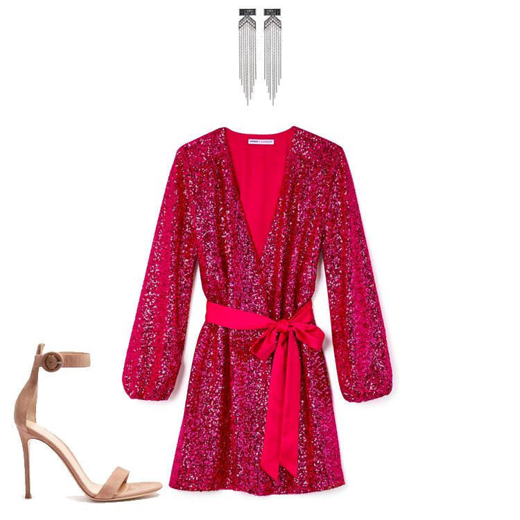 43ff2b0c16 Express x Olivia Culpo Surplice Sequin Dress · Karl Lagerfeld Paris K  Fringe Statement Earrings · Gianvito Rossi Portofino 100 Suede Sandals